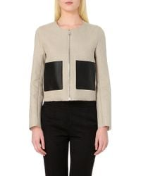 Sandro Leather Pocket Linen-Blend Jacket - For Women - Lyst
