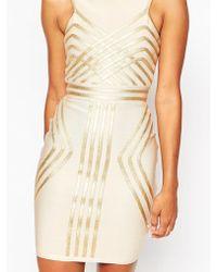 ASOS | Sculpt Premium Bandage Metallic Pipping Mini Bodycon Dress | Lyst