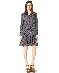 Michael Kors Blossom-Print Belted Dress - Lyst