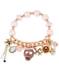Betsey Johnson Rose Gold-tone Angel Skull Half-stretch Bracelet - Lyst