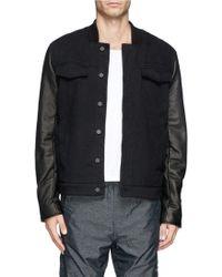 T By Alexander Wang Leather Sleeve Denim Jacket - Lyst