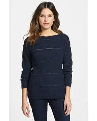 Nordstrom Collection Pointelle Stitch Boatneck Sweater - Lyst