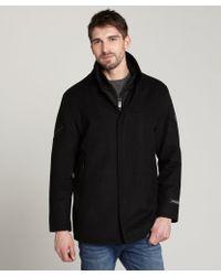 T-Tech By Tumi - Black Wool Blend Inner Zip Coat - Lyst