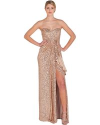 Badgley Mischka Strapless Sequin Slit Evening Gown - Lyst