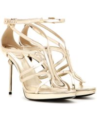 Roger Vivier Ondulation Metallic Leather Sandals gold - Lyst