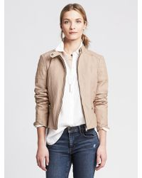 Banana Republic Quilted Blush Leather Moto Jacket - Lyst