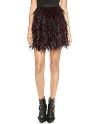 Alice + Olivia Alice  Olivia Cina Feather Flare Miniskirt - Kir Royaleblack - Lyst