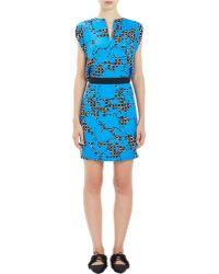 Balenciaga Mixed-Print Crepe Dress - Lyst