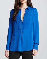 Halston Heritage Silk Tuxedo Shirt - Lyst