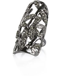 River Island Silver Tone Large Diamante Encrusted Ring - Lyst