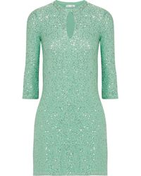 Oscar de la Renta Sequined Silk-blend Mini Dress - Lyst