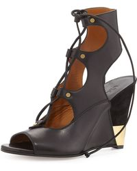 Chloé Leather Gladiator Wedge Sandal - Lyst