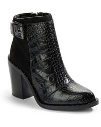 Luxury Rebel - Maggie Goat Shearling-Lined Embossed Leather And Suede Ankle Boots - Lyst