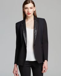 DKNY One Button Blazer with Leather Lapels - Lyst