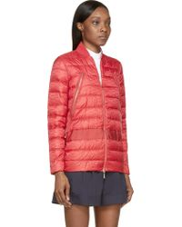 Moncler Gamme Rouge Red Quilted Down Bomber Jacket - Lyst