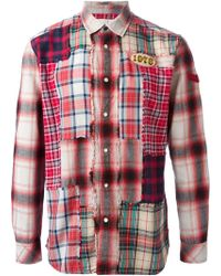 Diesel Red Patchwork Shirt - Lyst