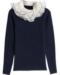 Ralph Lauren Collection Knit Top With Silk-Organza Collar - Lyst