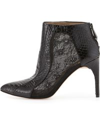 BCBGMAXAZRIA Cleo Snake-Embossed Leather Bootie - Lyst