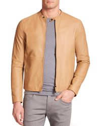 Armani Leather Bomber Jacket brown - Lyst