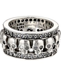 King Baby Studio Wide Band Ring W Skulls and Cz - Lyst