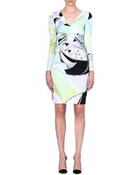 Emilio Pucci Vneck Printed Crepe Dress Green - Lyst