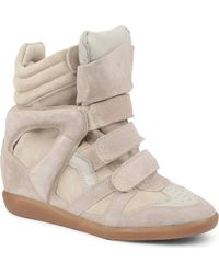 Isabel Marant Bekett Suede and Leather Wedge Trainers Beige - Lyst