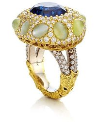 Nicholas Varney - One Of A Kind Sapphire, Cats Eye Chrysoberyl, And Diamond Ring - Lyst