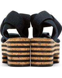 Arielle De Pinto - Black Cork Platform Sandals - Lyst