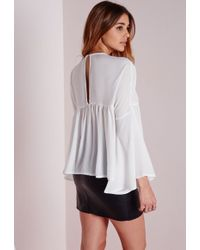 Missguided - Drop Peplum Blouse White - Lyst