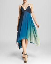 Halston Heritage Dress - Halter Neck Ombré Skirt - Lyst