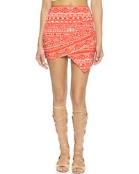 T-bags - Assymetrical Hem Mini Skirt - Orange/white - Lyst