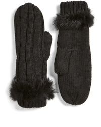 Love Token - Cable Knit Mittens With Genuine Rabbit Fur Trim - Lyst