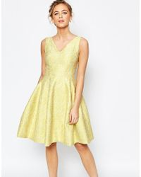 Coast | Amberley Lace Textured Fit And Flare Dress In Lime | Lyst