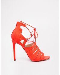 Asos Heartbreak Hotel Lace-Up Heeled Sandals - Lyst