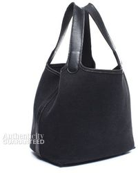 Hermès Pre-Owned Black Canvas Picotin Tote Bag - Lyst