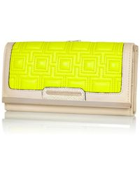River Island Yellow Geometric Quilted Clip Top Purse - Lyst