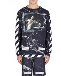 Off-White c/o Virgil Abloh | black Marble-print T-shirt | Lyst