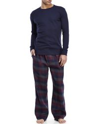 U.S. POLO ASSN. - Navy Thermal Top & Flannel Pajama Set - Lyst