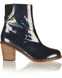 MM6 by Maison Martin Margiela Iridescent Patent-Leather Ankle Boots - Lyst