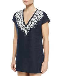 Tory Burch Issy Scallop-trim Embroidered Tunic - Lyst