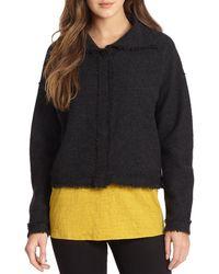 Eileen Fisher Funnel Neck Boiled Wool Jacket - Lyst