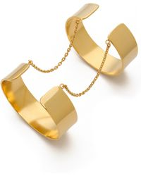 Vanessa Mooney Anarchy Double Cuff Bracelet Gold - Lyst