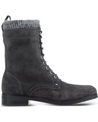 Belle By Sigerson Morrison Lace-Up Suede Ankle Boots gray - Lyst