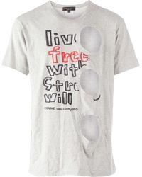 Comme Des Garçons Cut Out Detail Printed T-shirt - Lyst