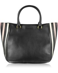 Sonia Rykiel Lucien Black Striped Leather Shopping Bag - Lyst