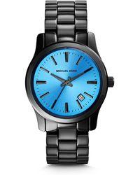 Michael Kors Runway Blue And Onyx Watch - Lyst