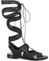 Nicholas Kirkwood X Erdem Lace-Up Gladiator Sandals black - Lyst