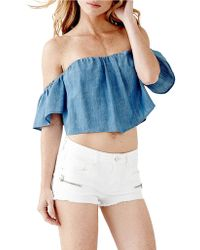 Guess Ruffled Off-The-Shoulder Crop Top - Lyst