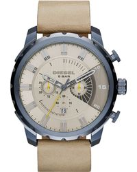 Diesel Men'S Chronograph Stronghold Light Brown Leather Strap Watch 58X51Mm Dz4354 gray - Lyst