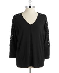 Two By Vince Camuto Studded Dolman Top - Lyst